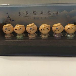 Asian Angel Dolls on Wooden Stand New 6